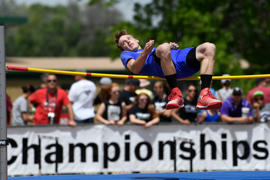 . Nic Martin, North Park, didn\'t clear the bar on this attempt during the boys 1A high jump competition at the Colorado Track and Field State Championships at Jeffco Stadium May 21, 2016. (Photo by Andy Cross/The Denver Post)