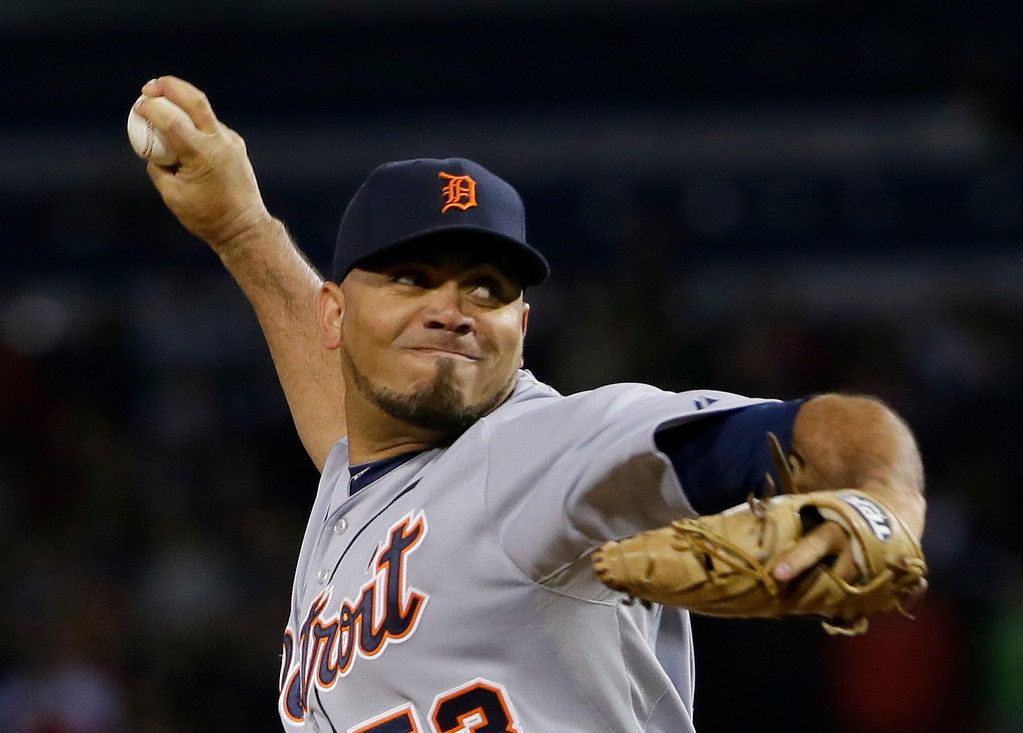 . Detroit Tigers relief pitcher Joaquin Benoit throws against the Boston Red Sox in the ninth inning during Game 1 of the American League baseball championship series Saturday, Oct. 12, 2013, in Boston. (AP Photo/Matt Slocum)