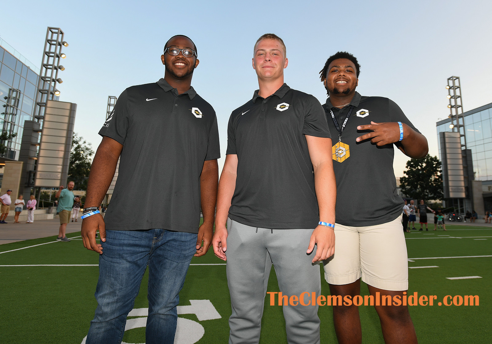 From left, Clemson offensive linemen commits Paul Tchio, Walker Parks and Mitchell Mayes Sunday, June 30, 2019 at The Opening in Frisco, TX. Bart Boatwright/The Clemson Insider