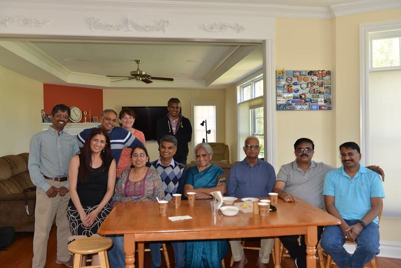 The entire group.  From right siting Narayanan Shankar, Mohan, srivatsan' dad and mom, srivatsan, srivatsan's wife Shanthi, Tara.  From Right standing Jayanth, Ramachandra's wife Abby, Ramachandra, Saravanan.