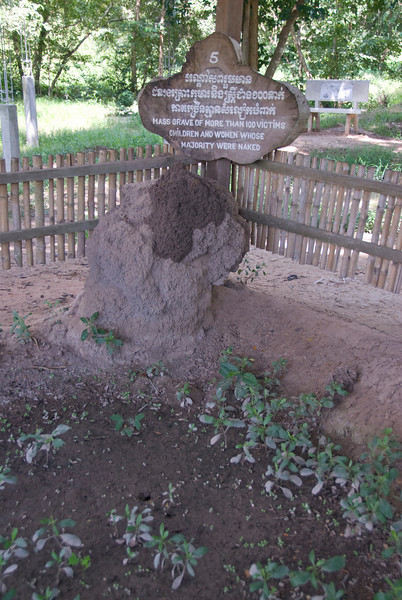 Shot of a mass grave in the Killing Fields at Phnom Penh, Cambodia