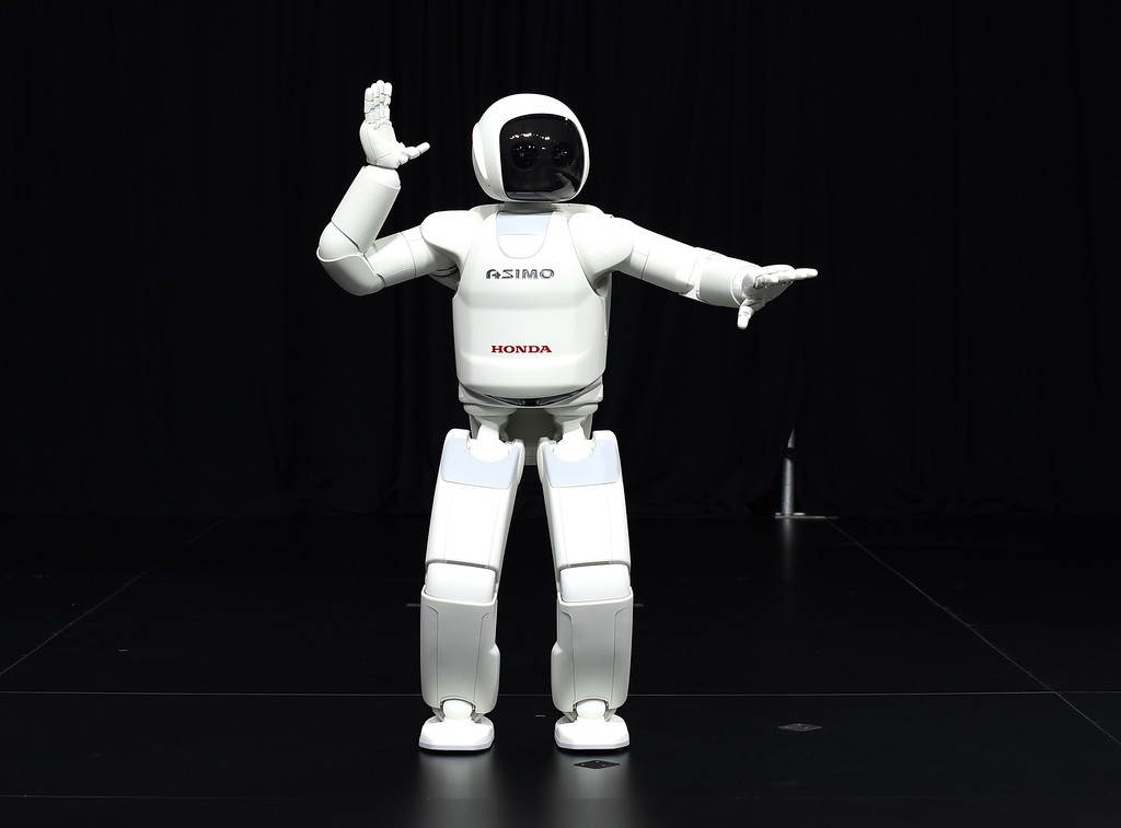 . Honda North America shows off their new Asimo Robot to the media during the second press preview day at the 2014 New York International Auto Show  April 17, 2014  in New York at the Jacob Javits Center. AFP PHOTO / Timothy A. CLARY/AFP/Getty Images