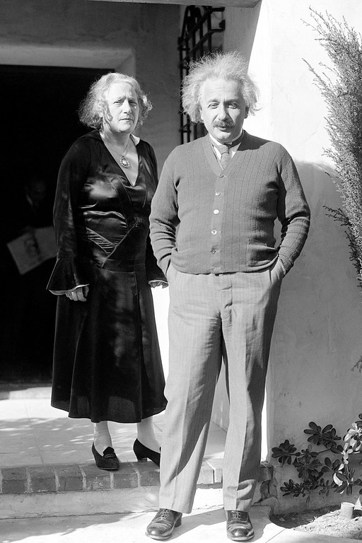 . Professor Albert Einstein, a famous German scientist, and his wife Elsa Einstein, stand in front of their home in Pasadena, Calif., Jan. 22, 1931. (AP Photo)