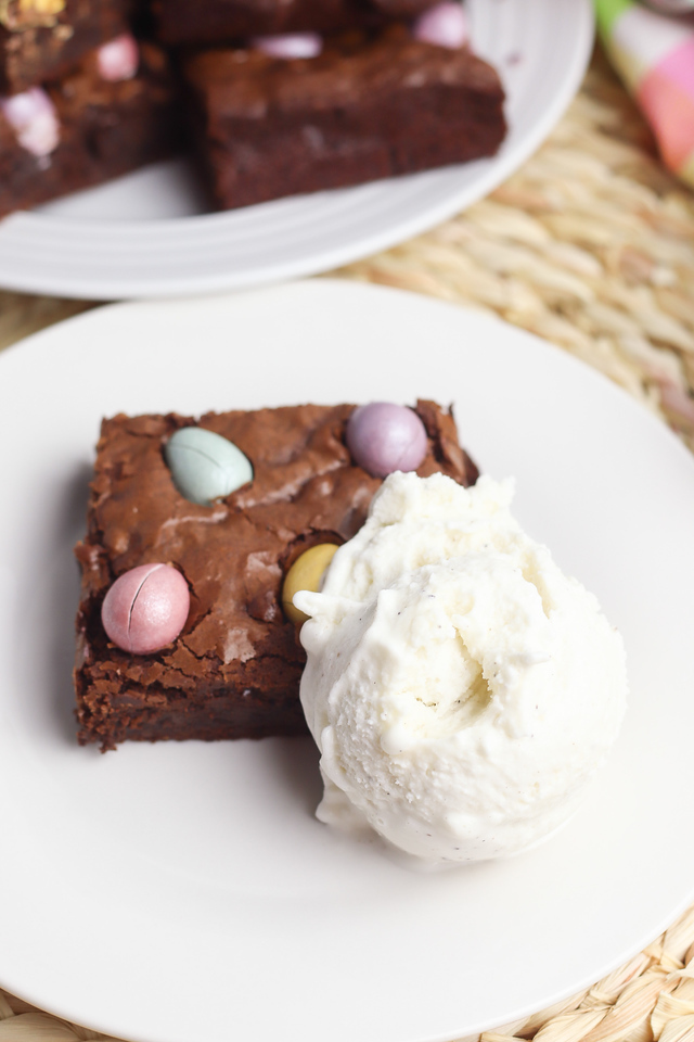 homemade brownies with ice cream
