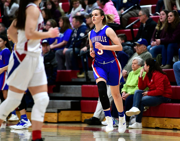 2/26/2019 Mike Orazzi   Staff Plainvilles Caitlin Barker (3) during the CIAC 2019 State Girls Basketball Tournament with Berlin at Berlin High School Tuesday night.