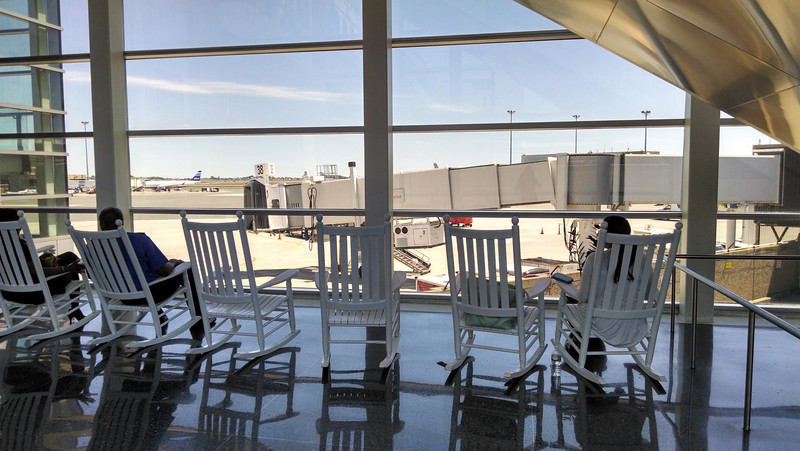 Boston Logan. full of rocking chairs for some reason?
