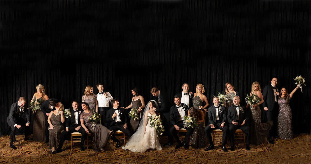 Fun but formal bridal party portrait for Lizzie and Craig's New Year's Eve wedding in Washington DC.  This is a composite bridal party portrait.