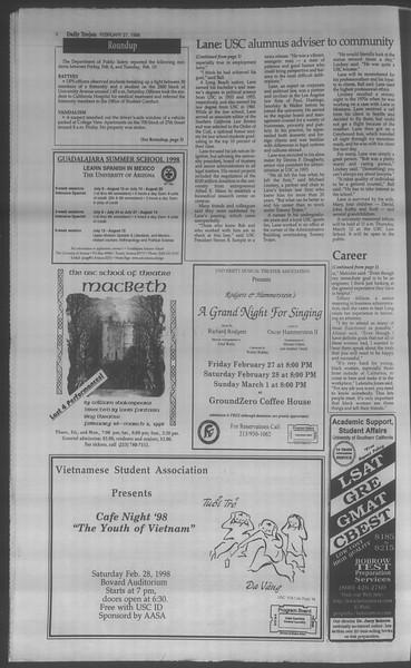Daily Trojan, Vol. 133, No. 33, February 27, 1998
