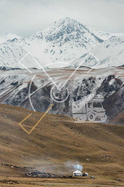 Landscape with yurt farm and livestock along the Kichi-Naryn river track in the Tian Shan mountains