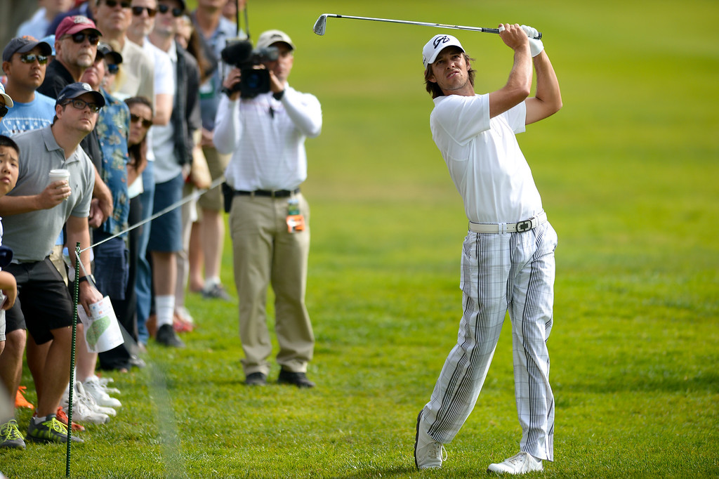 . Aaron Baddeley hits from the second fairway during the third round of the Northern Trust Open, Saturday, February 15, 2014, at Riviera Country Club. (Photo by Michael Owen Baker/L.A. Daily News)