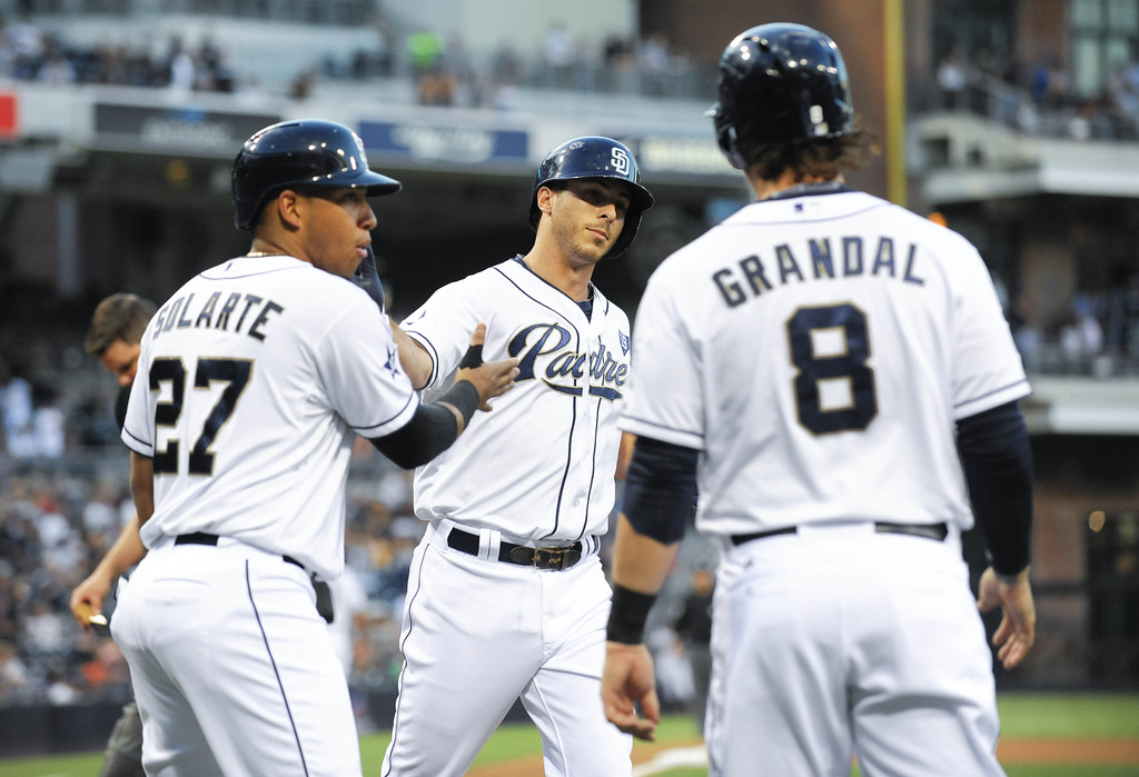 . SAN DIEGO, CA - SEPTEMBER 24:  Tommy Medica #14 of the San Diego Padres, center, is congratulated by Yangervis Solarte #27, left, and Yasmani Grandal #8 after he hit a three-run home run during the first inning of a baseball game against the Colorado Rockies at Petco Park September, 24, 2014 in San Diego, California.  (Photo by Denis Poroy/Getty Images)