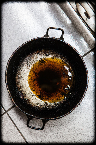 a well used pan. it was on the stove and in full use each day I was there.