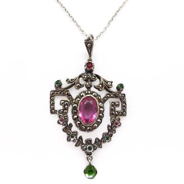 ANTIQUE EDWARDIAN SILVER SUFFRAGETTE PINK & GREEN PASTE GLASS PENDANT NECKLACE