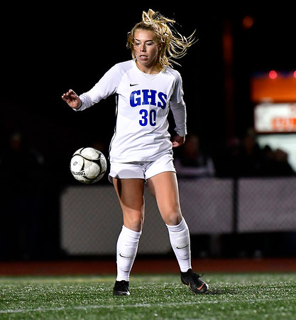11/23/2019 Mike Orazzi | Staff Glastonbury High School's Julia Haussmann (30) during the Class LL Girls State Soccer Tournament at Veterans Stadium in New Britain Saturday evening. Glastonbury defeated Southington 1-0.