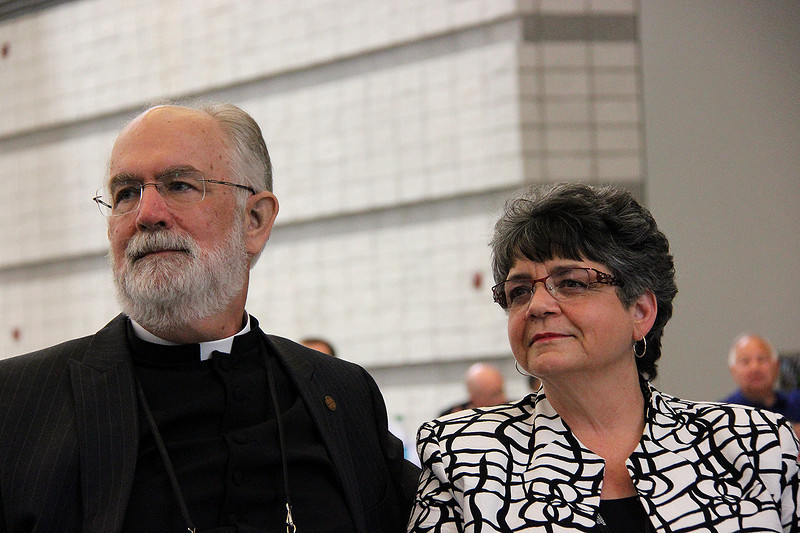 The Rev. Wm. Chris Boerger and his wife react to the announcement of his election as the secretary of the ELCA.