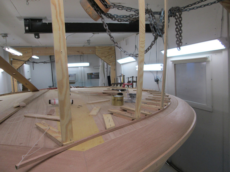 Starting to rout deck seams. This is the jig to rout the outside seam. This is the front half.