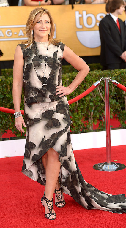 . Edie Falco arrives at the 20th Annual Screen Actors Guild Awards  at the Shrine Auditorium in Los Angeles, California on Saturday January 18, 2014 (Photo by Michael Owen Baker / Los Angeles Daily News)