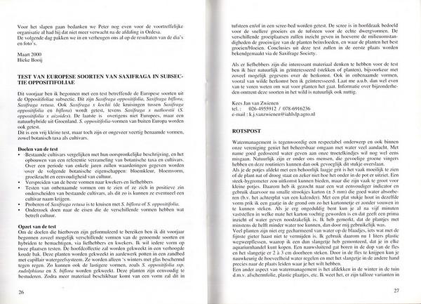 Test van Europese soorten van Saxifraga in subsectie Oppositifoliae, NRW Nieuwsbrief 59, Kees Jan van Zwienen, May 2000