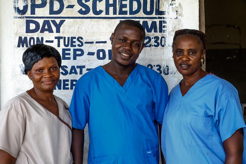 Monrovia, Liberia October 13, 2017 - Staff members Krubo B. Massah, Isaac Fkpayeh and Helena Sackie at the E.S. Grant Mental Health Hospital.