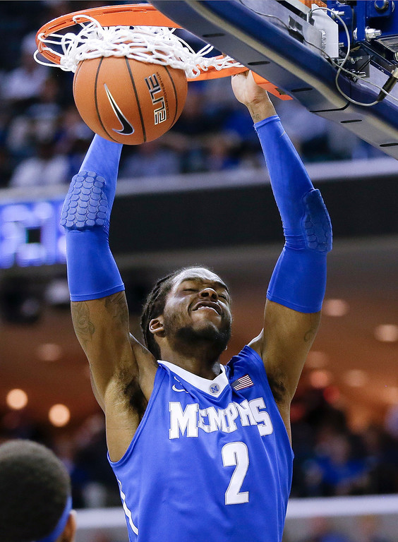 . Memphis forward Shaq Goodwin dunks against Connecticut during the second half of an NCAA college basketball game in the quarterfinals of the American Athletic Conference men\'s tournament Thursday, March 13, 2014, in Memphis, Tenn. (AP Photo/Mark Humphrey)