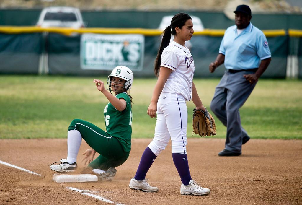. Bonita\'s Chloe Melanson (16) slides to third during a prep softball game Bonita vs. Diamond Bar at Diamond Bar High School on Wednesday, May 8, 2013.     (SGVN/Staff photo by Watchara Phomicinda)