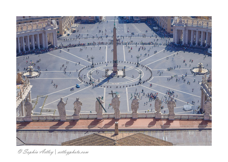 Statues from Carlo Moderno's facade of St. Peter's overlooking St. Peters Square, viewed from the dome, Vatican, Rome, Italy