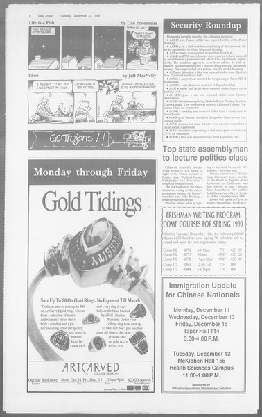 Daily Trojan, Vol. 110, No. 67, December 12, 1989