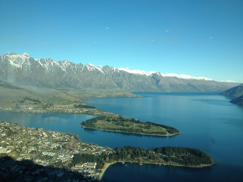Looking Down Over Queenstown from the Top of the Sky Tower