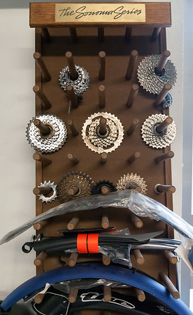 09/25/18 Wesley Bunnell | Staff Bike New Britain held a ribbon cutting at its 39 Bank St location on Tuesday afternoon. Bicycle parts including gears line the walls.