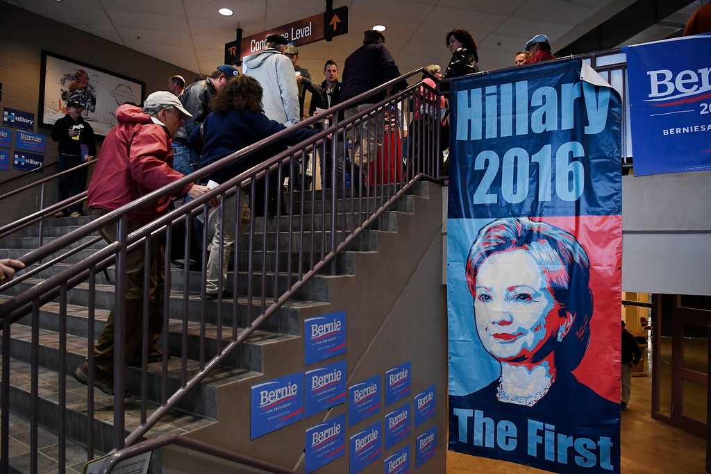 . Convention goers file in to the Budweiser Events Center for the Colorado Democratic State Convention at the Budweiser Events Center April 17, 2016. (Photo by Andy Cross/The Denver Post)