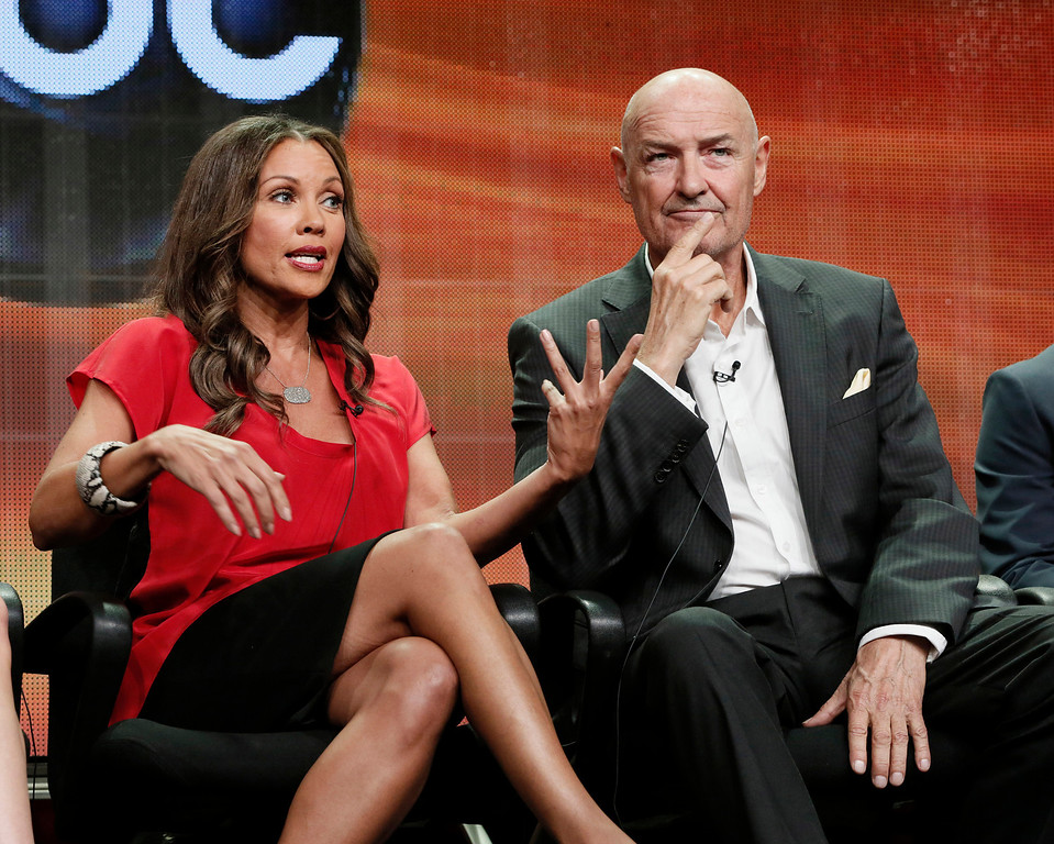 ". FILE - This July 27, 2012 file photo shows Vanessa Williams, left, and Terry O\' Quinn attending the ""666 Park Avenue\"" panel at the Disney ABC TCA at the Beverly Hilton Hotel in Beverly Hills, Calif. The Television Critics Association brought casts and executives before the nation\'s TV reporters to get them stoked about the new fall series. (Photo by Todd Williamson/Invision/AP, file)"