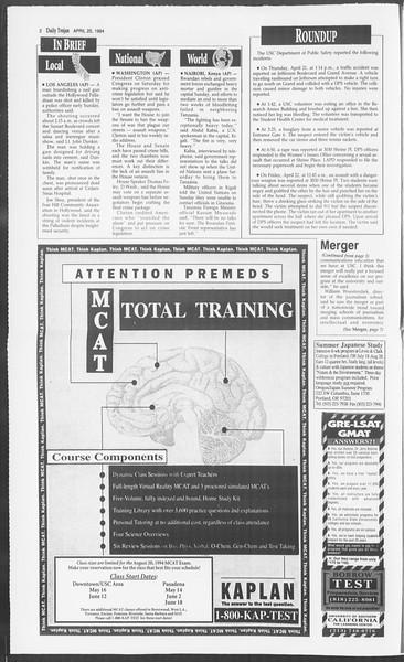 Daily Trojan, Vol. 122, No. 65, April 25, 1994
