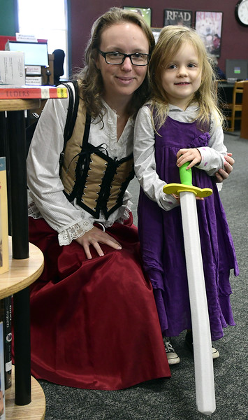 11/5/2016 Mike Orazzi | Staff Liz Hayden and her daughter Elise,4, during the inaugural Renaissance Fair held at the Southington Public Library on Saturday.