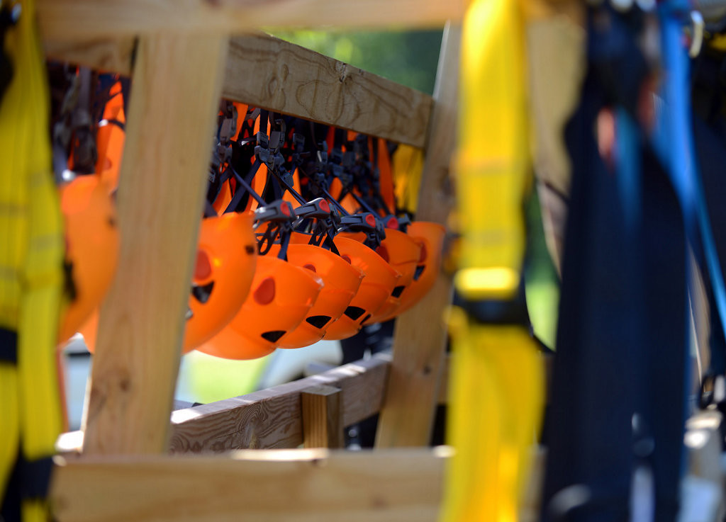 . Helmets and harnesses are neatly hung at the Aerial Adventure Park at Trollhaugen. (Pioneer Press: Chris Polydoroff)