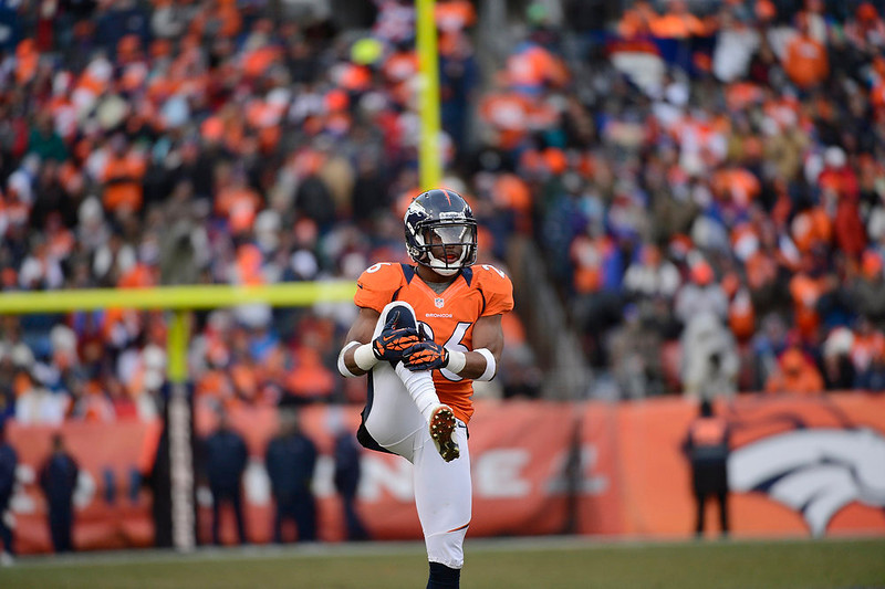 . Denver Broncos free safety Rahim Moore (26) stretches before a play in the second quarter. The Denver Broncos vs Baltimore Ravens AFC Divisional playoff game at Sports Authority Field Saturday January 12, 2013. (Photo by Joe Amon,/The Denver Post)
