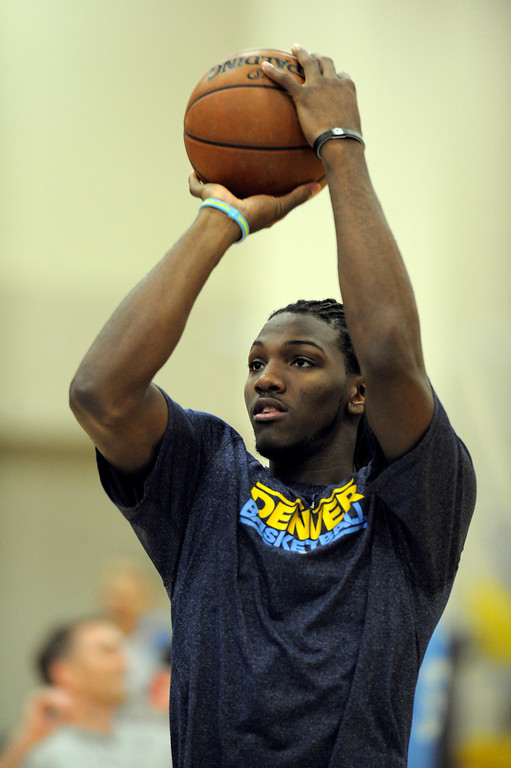 . Kenneth Faried (35) of the Denver Nuggets takes a shot during practice April 22, 2013 at Pepsi Center. (Photo By John Leyba/The Denver Post)