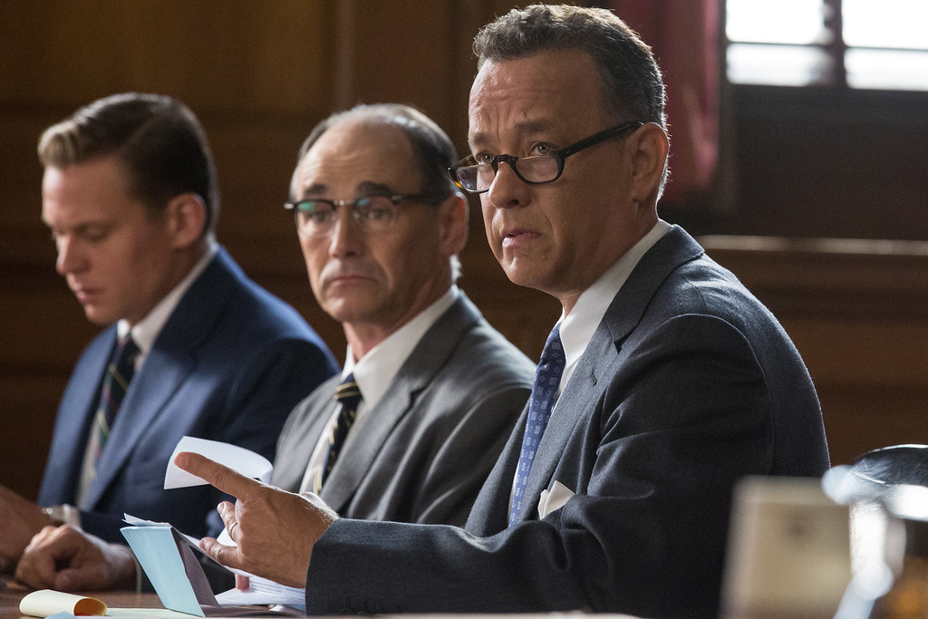 """. In this image released by Disney, Tom Hanks, from right, Mark Rylance and Billy Magnusson appear in a scene from the film, \""""Bridge of Spies.\"""" The film was nominated for an Oscar for best picture on Thursday, Jan. 14, 2016. The 88th annual Academy Awards will take place on Sunday, Feb. 28, at the Dolby Theatre in Los Angeles. (Jaap Buitendijk/DreamWorks Pictures/Fox 2000 Pictures via AP)"""