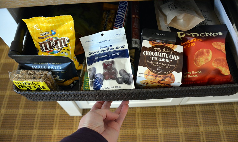 In-room snacks available at the Taconic Hotel in Manchester, VT