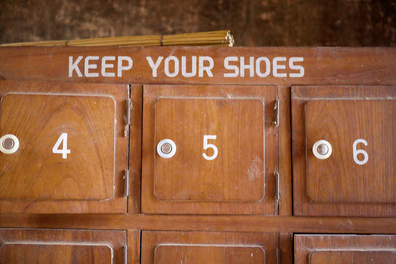 "A handy place to ""Keep your Shoes"" while your visiting a temple in Bagan, Burma (Myanmar)"