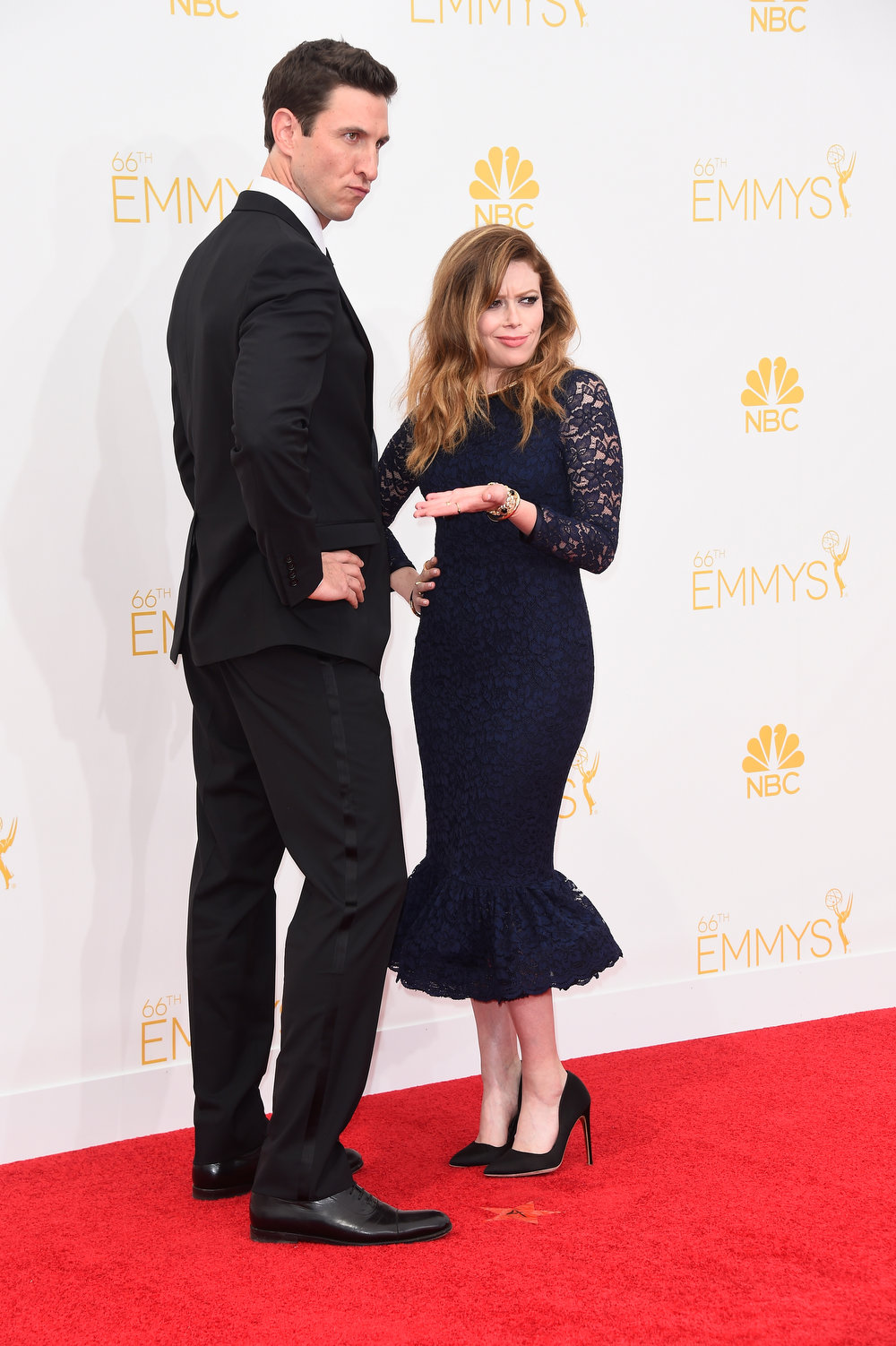 . Actors Pablo Schreiber (L) and Natasha Lyonne attend the 66th Annual Primetime Emmy Awards held at Nokia Theatre L.A. Live on August 25, 2014 in Los Angeles, California.  (Photo by Frazer Harrison/Getty Images)
