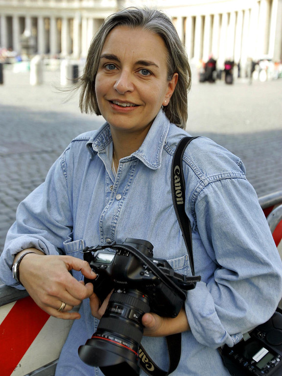 . This April 7, 2005 photo shows AP photographer Anja Niedringhaus in Rome. Niedringhaus, 48, an internationally acclaimed German photographer, was killed and an AP reporter was wounded on Friday, April 4, 2014 when an Afghan policeman opened fire while they were sitting in their car in eastern Afghanistan. (AP Photo/Peter Dejong, File)