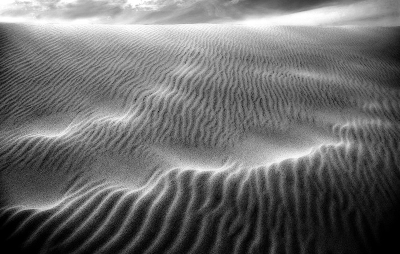 Dune Lightning* footprints, b/w, sand dunes, Death Valley