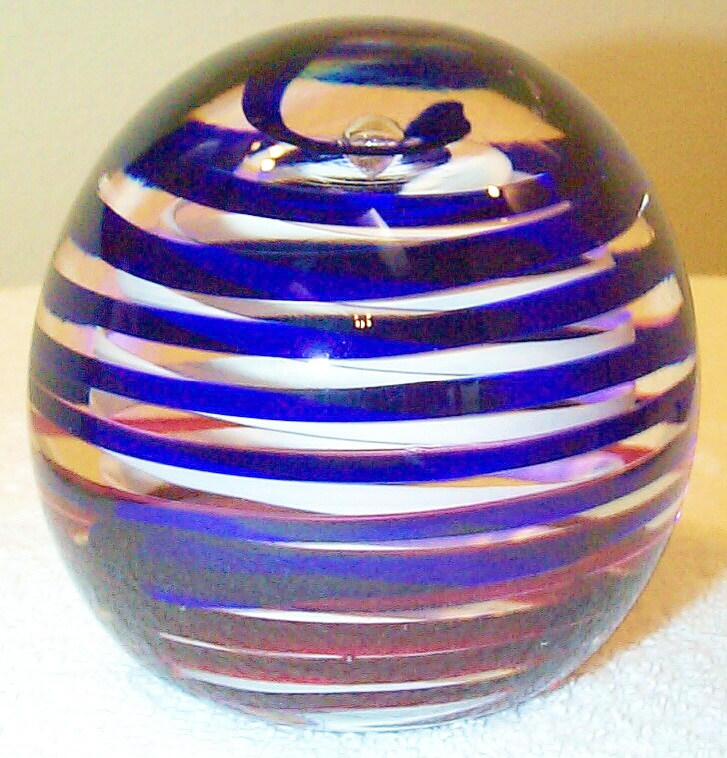 """DCP04434PE-Spiral...Strathearn Experimental Magnum Double Blue and Pink over White Spirals on a clear ground, 3.7"""" x 3.65"""" and 42 ozs. Concave fire-polished base. No label. circa 1979 to 1980. acquired 01-17-03."""