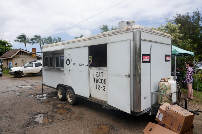 A taco truck serves beachgoers of Hanalei beach for three hours daily