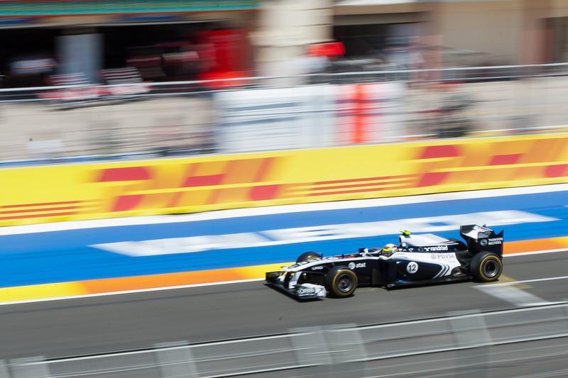 Racing car speeding through the race track - Valencia, Spain