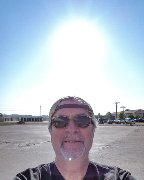 August 21, 2017, 08:27 am.  Gas station on outskirts of Torrington Wyoming.  Fog lifted!  Now just waiting for Andy, Aidan, Les and Roxy to catch up to us. (phone selfie).