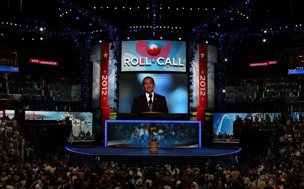 . DNC Chair Los Angeles Mayor Antonio Villaraigosa sets up the nomination process for roll call during day two of the Democratic National Convention at Time Warner Cable Arena on September 5, 2012 in Charlotte, North Carolina.   (Photo by Alex Wong/Getty Images)