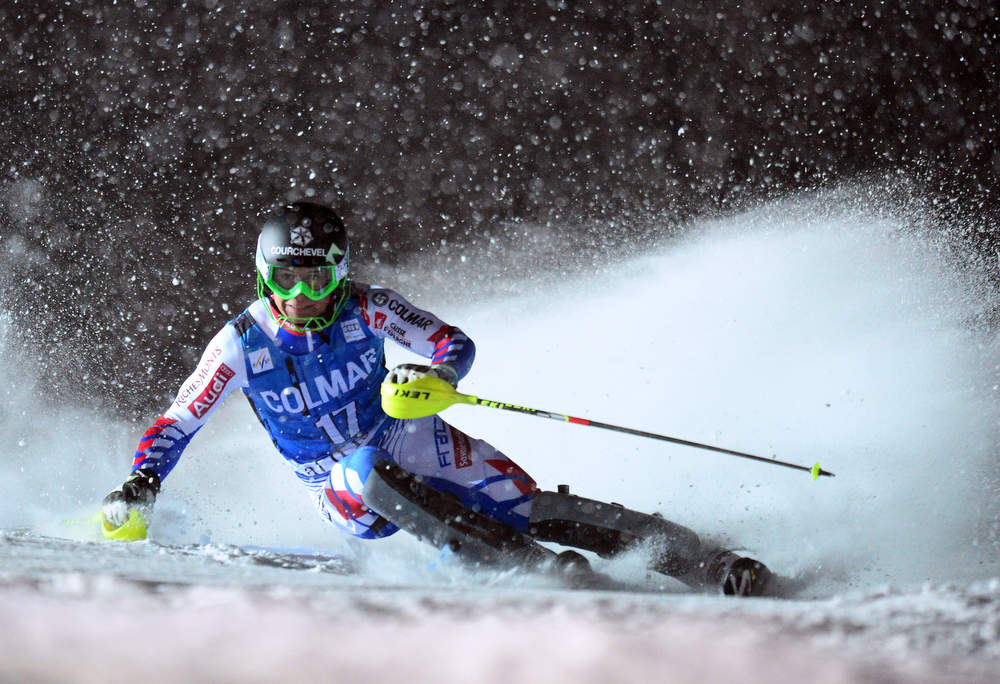 Description of . Alexis Pinturault of France clears a gate in his second run at the FIS Alpine World Cup Men's Slalom on December 8, 2012 in Val d'Isere, French Alps. Alexis Pinturault of France won the race. AFP PHOTO / FRANCK FIFE/AFP/Getty Images