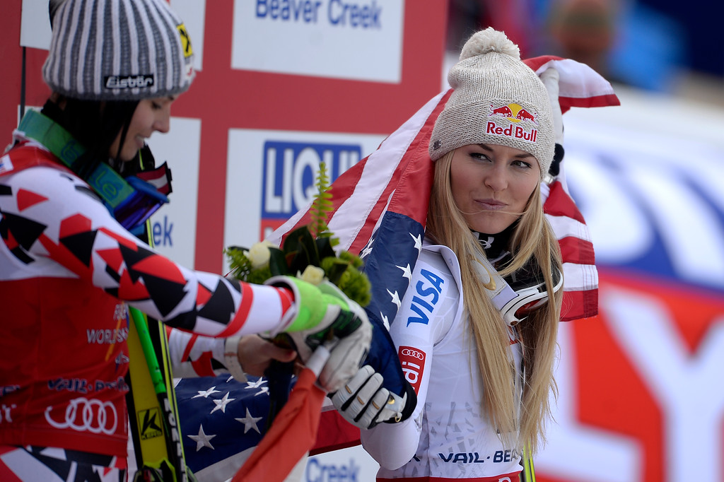 . BEAVER CREEK, CO - FEBRUARY 03: USA skier Lindsey Vonn (3rd) celebrates with champion Anna Fenninger of Austria during the the ladies\' super-G finals. FIS Alpine World Ski Championships 2015 on Tuesday, February 3, 2015. (Photo by AAron Ontiveroz/The Denver Post)