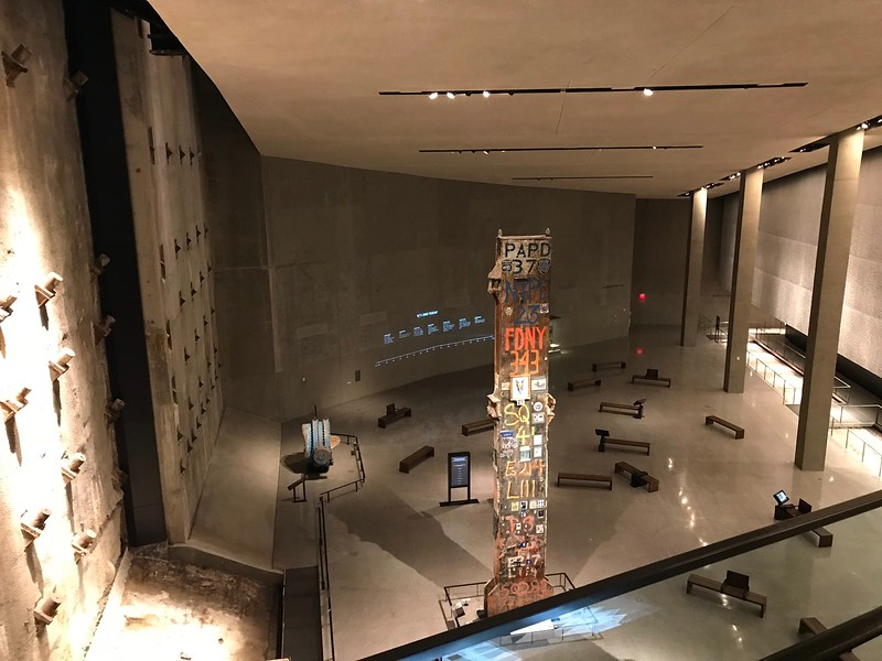 Looking down on the gallery at 9/11 Museum.